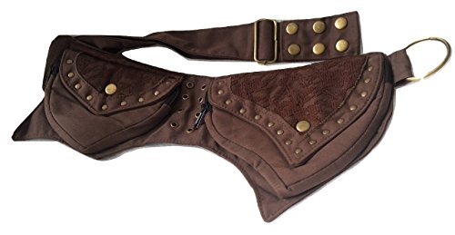 vintage crafts Leather Practical Fannypack Cotton Waistbag Travel Utility Belt (Brown)