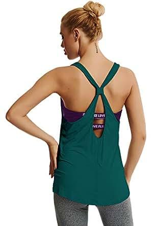 Yucharmyi Womens Active Backless Tank Tops Yoga Shirt Workout Shirts