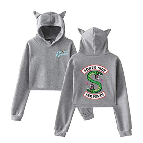 Chat Capuche Oreille Sweat Pull Top Manteau À Sweatshirt Avec Side Color Chemise 08 Riverdale Pullover South Haut Serpent Blouse Jumper Crop Aibayleef Tunique xwWFPqYvW