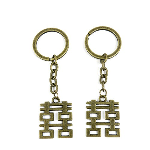 100 Pieces Ancient Bronze Keychain Keyring Key Chain Ring Charms Jewelry Making Handmade K3XS5 Double Happiness ()