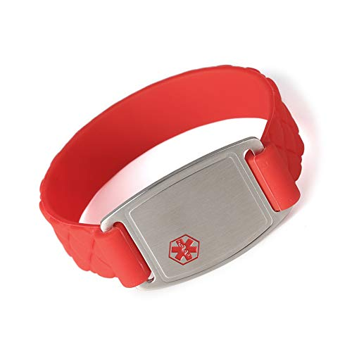 Medical Alert ID Bracelet Sports Red Silicone Band Stainless Steel Tag for Women Men Kids Free Engraving