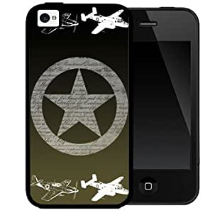 Airplanes with Star US Air Force USAF with Dark Green Background 2-Piece Dual Layer High Impact Black Silicone Cell Phone Case Cover iPhone i5 5s
