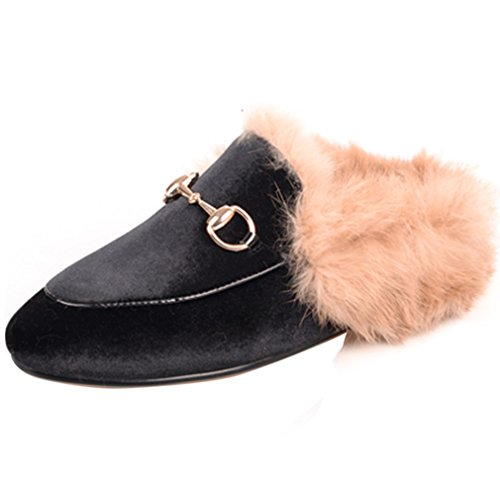 ENMAYER Womens Black Retro Fashion Loafers Round Toe Slip on Flat Outdoor Slippers with Furry and Buckle Black Velvet 4.5 B(M) US QyZ8r