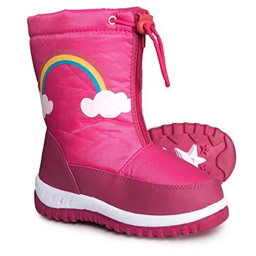 Rugged Bear Girls Rainbow Snow Boots, Kids, Black/Fushia, 10 M US Toddler