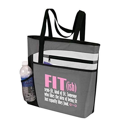 (Cute, Funny Gym Tote Bag for Women - Fit(ish) Gray/Pink Workout Tote - Funny Gym Fitness Sayings - Fitness Tote Bag for Women (Gym Tote Bag, Fit(ish))