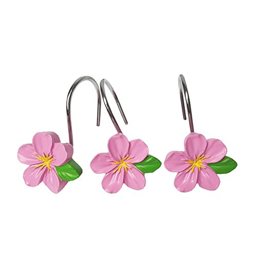 Pink Shower Curtain Hooks - Chictie Set of 12 Resin Flower Shower Curtain Hooks Rust Proof Rings Peach Blossom Hangers Home Bathroom Decorative (Pink)