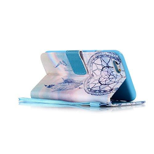 iphone 6s plus Coque Rabat,Kakashop Apple iphone 6 plus (5.5'') Pretty Colorée Peinture dreamcatcher bleu Motif Clapet Case avec Fonction de debout et fentes pour cartes, Luxueux PU Cuir Magnétique Po