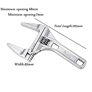 Adjustable Wrench ,KISENG 16-68mm Mini Adjustable Spanner Short Shank Large Openings Ultra-Thin