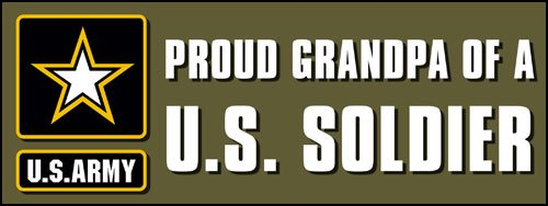 (American Vinyl Proud Grandpa of a US Soldier Bumper Sticker (Logo Star Army Forces))