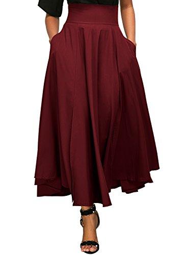 Dokotoo Jupe Femme Longue Haute Taille Casual Pliss Maxi Belted Jupe de Plage avec Deux Poches Rouge