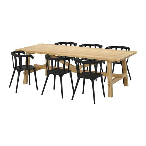 Ikea Table and 6 chairs, oak, black 20204.111123.382