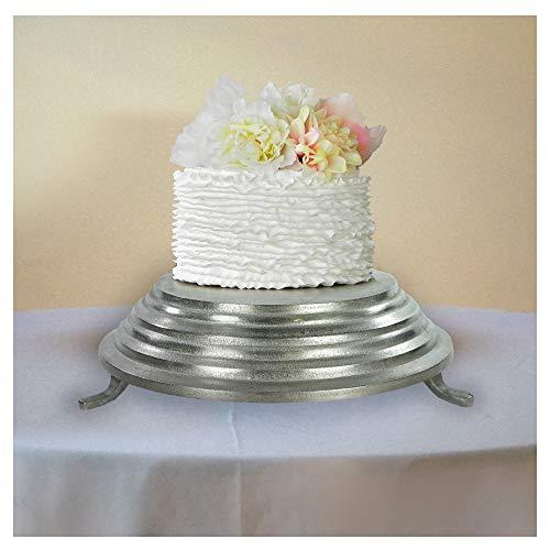 Home Essentials Decoration 12112 Wedding Party Aluminum Cake Stand For Stylist Host, 13.5 x 3.5 Inches, Silver