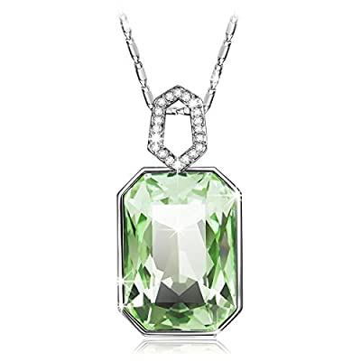 QIANSE ??Garden Mist?? Buy Green One Get Heart to Heart Necklace for Free, Add Both to Cart, Swarovski Crystal Pendant Necklace