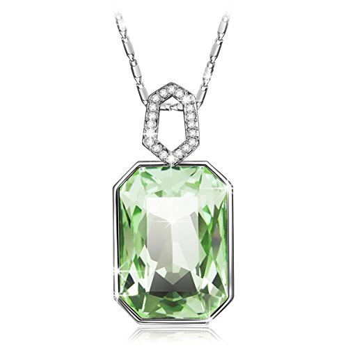 QIANSE Garden Mist Pendant Necklace Green Swarovski Crystals August Birthstone Necklace Jewelry for Women Christmas Gifts anniversary gifts for her birthday gifts for daughter mom sister friend (Necklace Jade Swarovski)