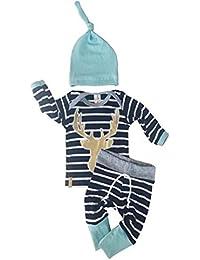3pcs/set bebé recién nacido niños niñas manga larga de rayas Tops Pantalones de ciervo Sombrero Outfits