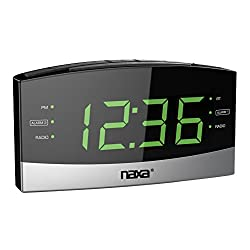 NAXA Electronics NRC-181 Bluetooth Easy-Read Dual Alarm Clock with Daily Repeat & USB Charge Port