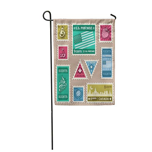Tarolo Decoration Flag Postal of Various Vintage Stamp Canada Triangle Retro Pear Shape Thick Fabric Double Sided Home Garden Flag 12