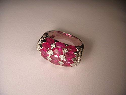 (Magnificent Estate 14K White Gold Rubies Ruby Diamond Ring Band)