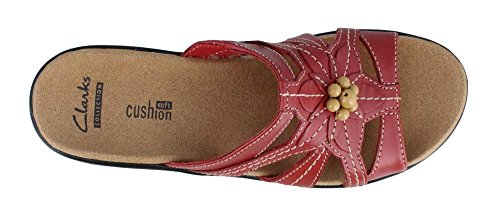 CLARKS Women's Lexi Myrtle, Red Leather, 7.5 EE-Extra Wide