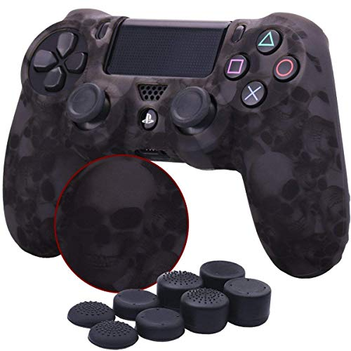 PS4 Controller Skin DualShock 4 Cover Grip Anti-Slip Rubber Silicone Gel Case Protector Sheel for Sony PS4/PS4 Slim/PS4 Pro Controller with 8 Thumb Grips (Printing - Skull Gray)