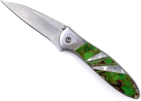 Kershaw Leek Folding Pocket Knife with Artisan-Crafted Lime Green Turquoise Blend Handle, Made in USA