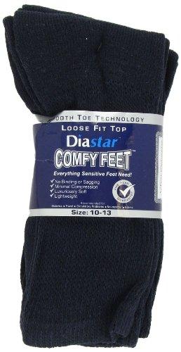 Diastar Comfy Feet Diabetic Socks, Navy, 10-13, 3 pack