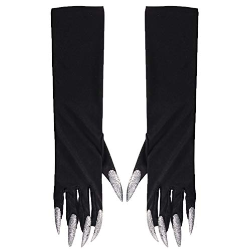 (Baokai Halloween Cosplay Long Nails Gloves, Long Fingernail Halloween Props Monster Claws Costume Gloves Men Women 50 cm)