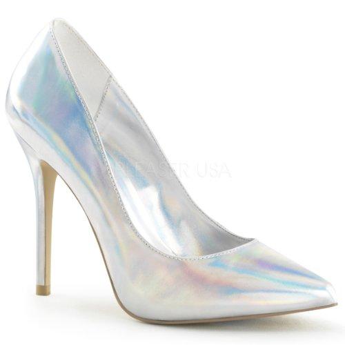 Pleaser AMU20/SHGPU Women's Dress Pump, Silver Hologram Polyurethane, 10 M US