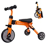 XJD 2 In 1 Toddler Trike with Carry Bag, Baby Tricycle and Balance Bike, Lightweight and Folding Riding on Toys For Ages 18 Months+ Boys or Girls (orange)
