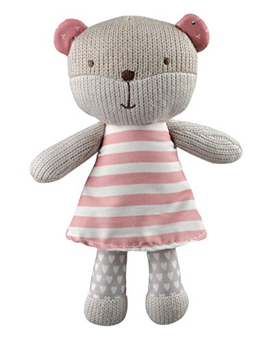 STORKI Teddy Bear Rattle Plush Toy for Babies, Soft Stuffed Animal Baby Gift, Pink 9.8
