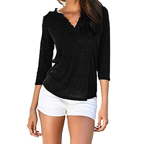 Blouse MuSheng en Femmes Shirt Noir Femmes T col Longues pour Manches avec V en Dentelle qf5fgvH