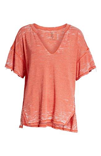 - Free People Womens Maddie Burnout Oversized T-Shirt Pink S