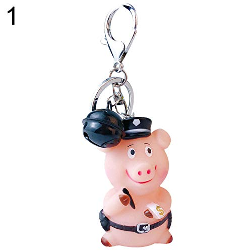 2019 Chinese New Year Mascot Cartoon Pig Keychain Bag Pendant Bell Key Ring Gift