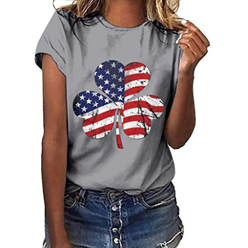 Plus Size Women Tops for 4th of July Clover Independence Day Print Short Sleeve Summer Oversize T-Shirt Blouse S-3XL