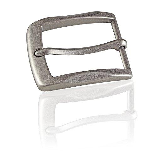 FREDERIC HERMANO Gürtelschnalle Buckle 40mm Metall Silber Antik - Buckle Gray - Dornschliesse Für Gürtel Mit 4cm Breite - Silberfarben Antik