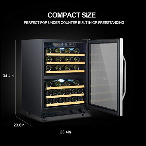 LANBO Dual Zone Wine Refrigerator, 44 Bottle Built-in Under Counter Compressor Wine Cooler, 24 Inch Wide by Lanbo (Image #2)