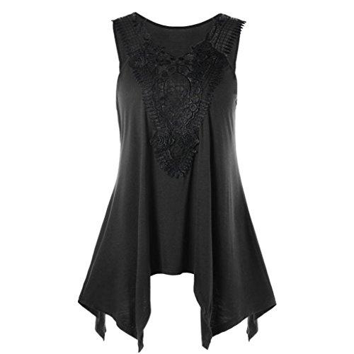 Sexyville Noir Casual Tops Taille Manche T Shirt Dbardeur XXL pissure Grande Irrgulier sans Hem Femmes Et Gilet ZqRrZnv4