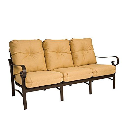 Woodard  Belden Cushion Sofa, Hammered White, Volt (Sunbrella White Sand Cushion)