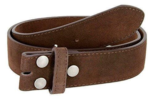 Suede Leather Casual Jean Belt Strap for Men (Brown, 38)