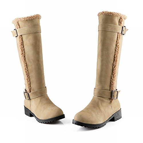 Carol Chaussures Casual Femmes Boucle Confort Chunky Talon Bas Mi-mollet Bottes Abricot