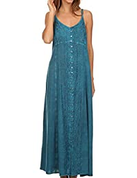 Sakkas Aisley Floral Embroidered Sleeveless Adjustable Strap Button Up Dress
