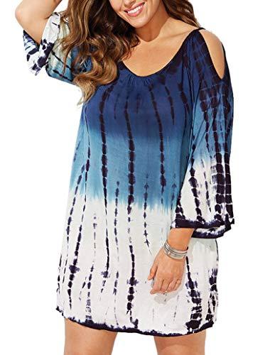 (Yskkt Womens Tie Dye Cover Up Plus Size Beach Coverups Swimsuits Cold Shoulder Swimwear Bathing Suit Blue)