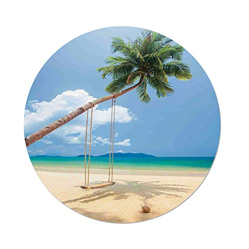 Polyester Round Tablecloth,Ocean,Photo of a Tropical Island with Coconuts Palm Trees and a Swing Beach Home Decor Decorative,Cream Blue Green,Dining Room Kitchen Picnic Table Cloth Cover,for Outdoor