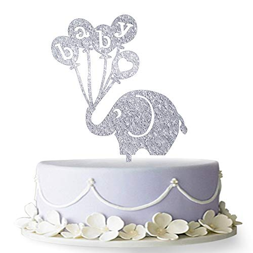 Firefairy Baby with Elephant Cake Topper, Baby Shower Birthday Party Decorations (Silver) ()