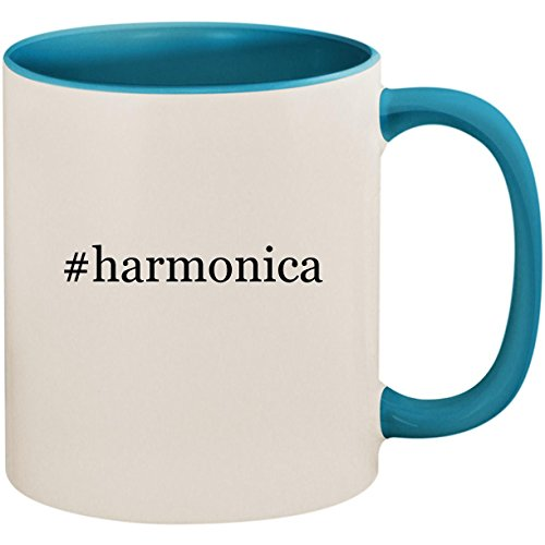 #harmonica - 11oz Ceramic Colored Inside and Handle Coffee Mug Cup, Light Blue (Hohner Piedmont Blues 7 Harmonica Pack With Case)