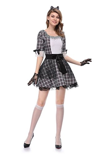 JJ-GOGO Sexy Dead Costume - Halloween Women Adult Day of Dead Pretty Porcelain Doll Costume
