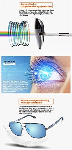 Bleu polarisées Verres 100 3379 Cadre Gunmetal carré Premium contre de UV les lunettes Duco rétro protection Cadre soleil pOTqnBxwUw