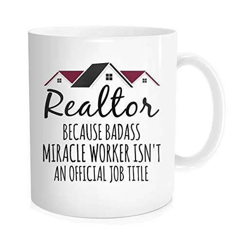 (Waldeal Realtor Coffee Mug, Realtor Miracle Worker Job Title Real Estate Agent Novelty Tea Cup, Gift Idea For Men Women Co-workers, White Fine Bone Ceramic 11)