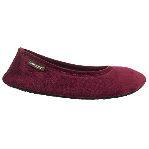 ISOTONER Women's Memory Foam Victoria Ballerina Slipper Stretch Velour Ballet Comfort House Shoe