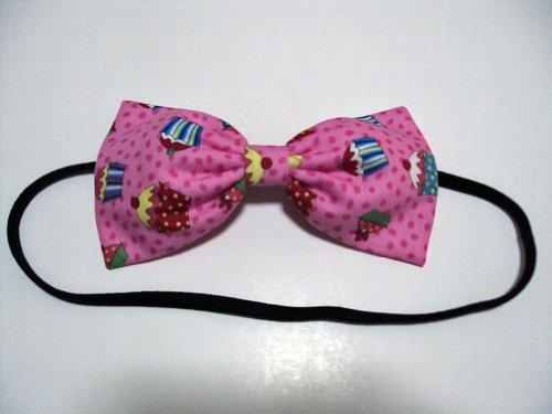 Pink Cherry Cupcakes Hair Bow Headband